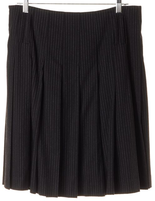 BURBERRY LONDON Gray Pinstriped Wool Knee-Length Pleated Skirt