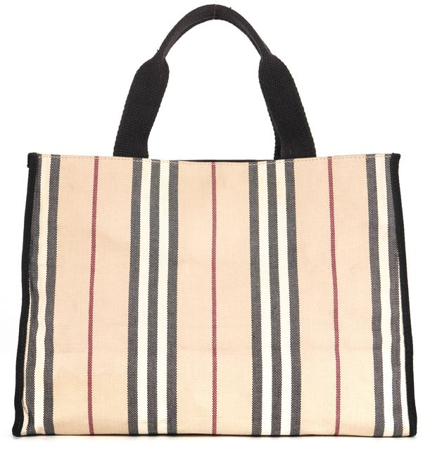 BURBERRY LONDON Beige Navy Red Striped Canvas Top Handle Tote Bag