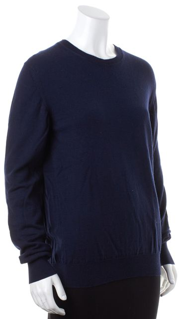 BURBERRY LONDON Navy Blue Wool Cotton Knit Long Sleeve Crewneck Sweater