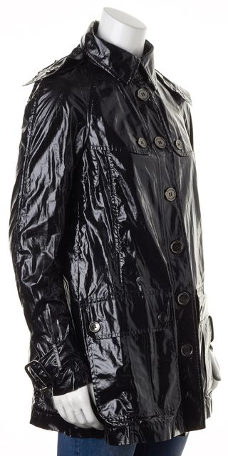 BURBERRY LONDON Black Coated Cotton Detachable Hood Raincoat Jacket