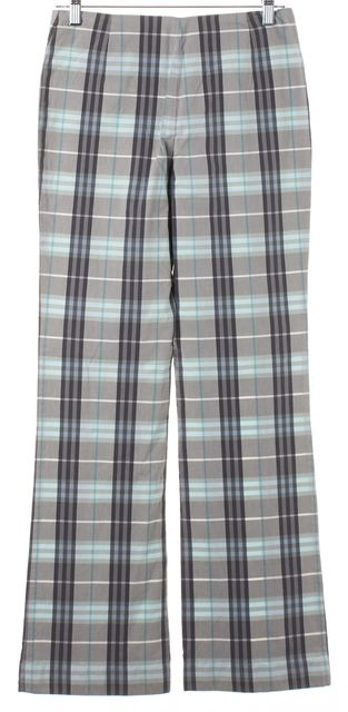 BURBERRY LONDON Blue Gray House Check Boot Cut Dress Pants