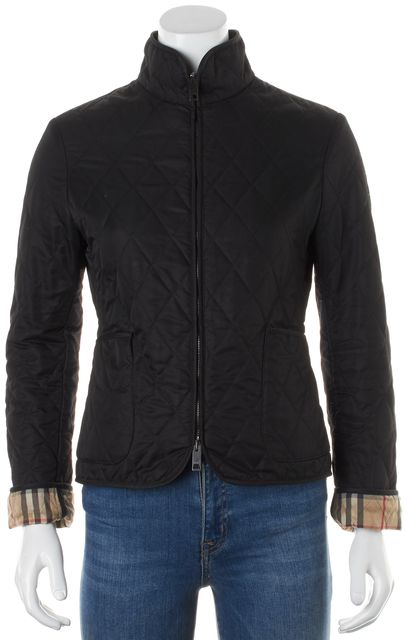 BURBERRY LONDON Black Quilted House Check Lined Zip-Up Jacket