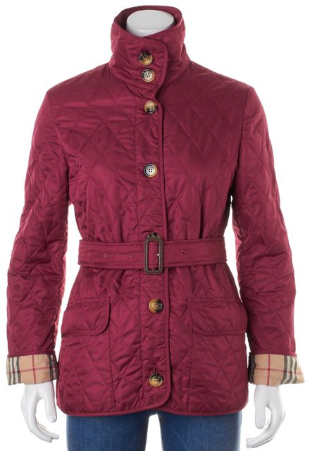 BURBERRY LONDON Red House Check Lined Belted Quilted Jacket