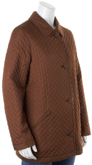 BURBERRY LONDON Brown House Check Lined Long Quilted Coat Jacket