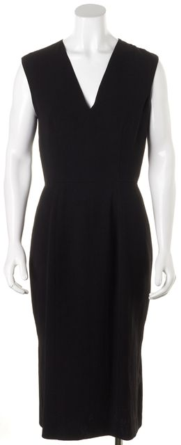 BURBERRY LONDON Black Sleeveless V-Neck Sheath Dress