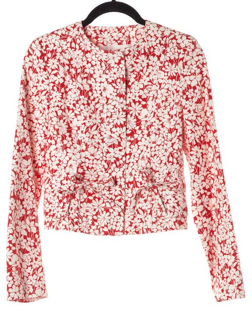 BURBERRY LONDON Red White Floral Zip Up Jacket