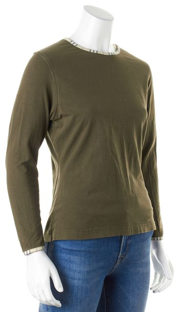 BURBERRY LONDON Olive Green Plaid Trim Crewneck Long Sleeve T-Shirt