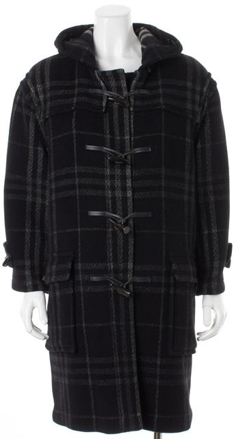 BURBERRY LONDON Black Gray Plaid Check Wool Toggle Coat