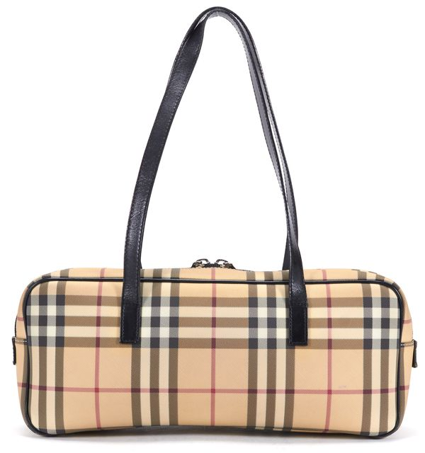 BURBERRY LONDON Beige Nova Check Coated Canvas Shoulder Bag