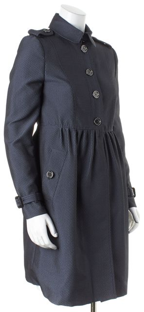 BURBERRY LONDON Dark Gray Textured Redingote Coat