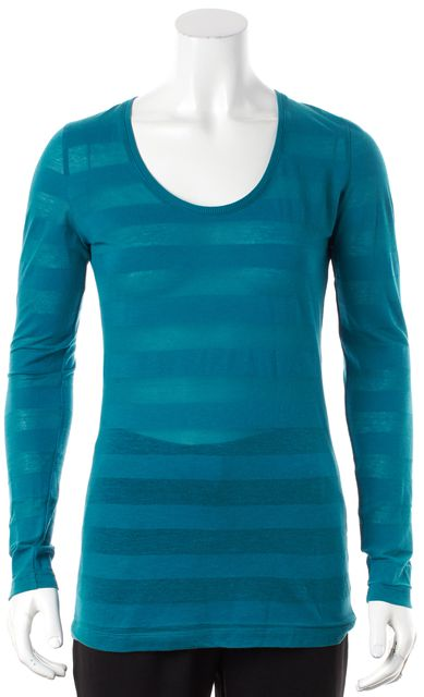 BURBERRY LONDON Blue Striped Heather Knit Blouse
