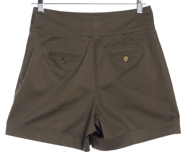 BURBERRY LONDON Olive Green High Waisted Chino Shorts