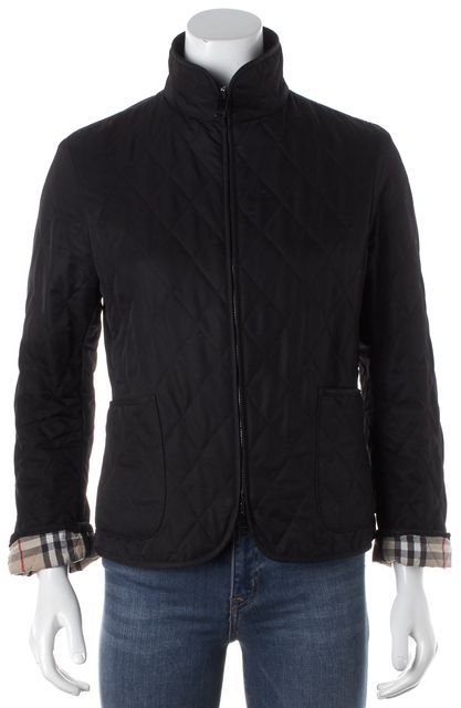 BURBERRY LONDON Black Quilted Long Sleeve Jacket Coat