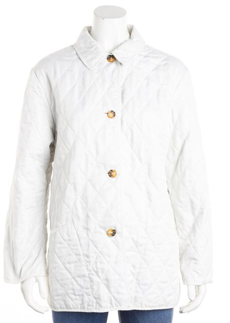 BURBERRY LONDON Ivory Button Front Quilted Jacket