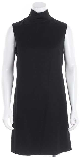 BURBERRY LONDON Black Wool Grommet Trim Mock Neck Shift Dress