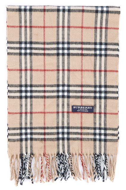 BURBERRY LONDON Beige Red Black Plaids & Checks Fringed Cashmere Scarf