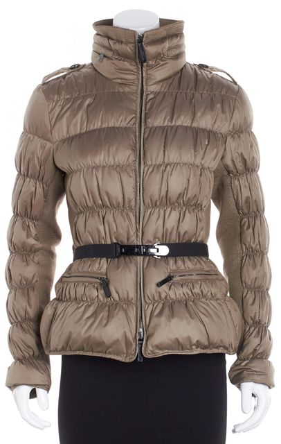 BURBERRY LONDON Tan Singed Puffer Coat W/ Hidden Hood