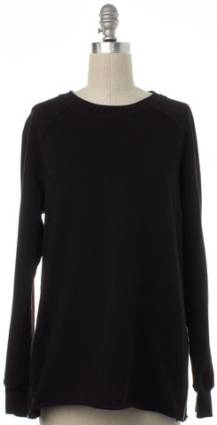 BLK DNM Black Crewneck Zipper Suede Detail Sweater