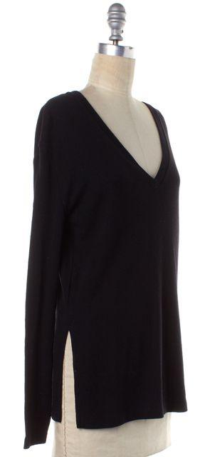 BLK DNM Black Wool Knit V-Neck Long Sleeve Sweater