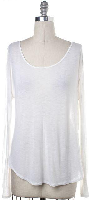 BLK DNM White Sheer Long Sleeve Scoop Neck Basic Tee Top