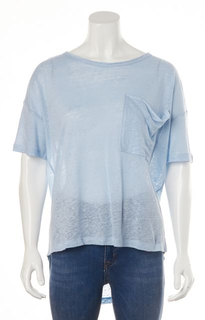 BLK DNM Baby Blue Linen Basic Loose Fit Short Sleeve T-Shirt