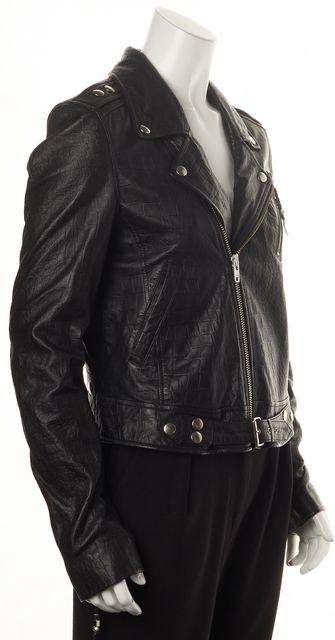 BLK DNM Black Crocodile Embossed Leather Motorcycle Jacket