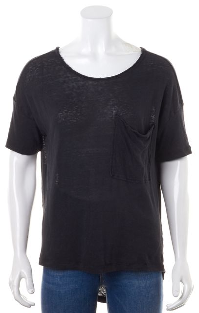 BLK DNM Solid Black Short Sleeve Front Pocket Casual T-Shirt