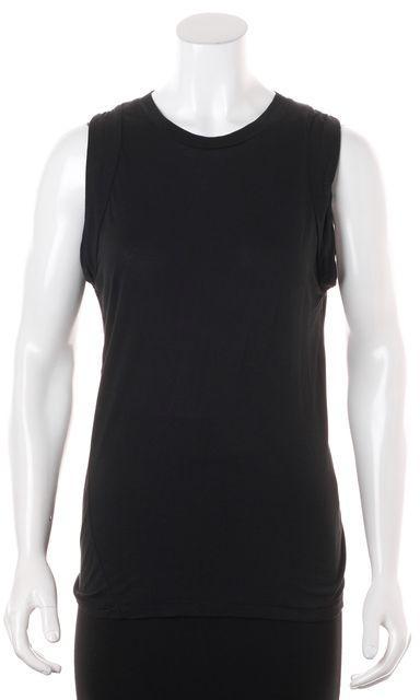 BLK DNM Solid Black Basic Sleeveless Viscose Long T-Shirt