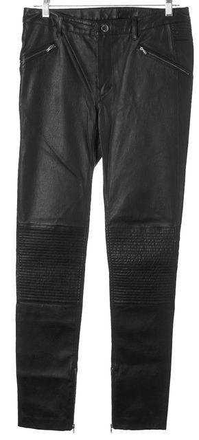 BLK DNM Black Leather Ankle Zip Skinny Moto Pants