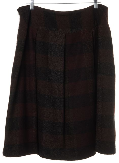 BALMAIN Brown Black Plaid Wool Blend Above Knee Pleated Skirt