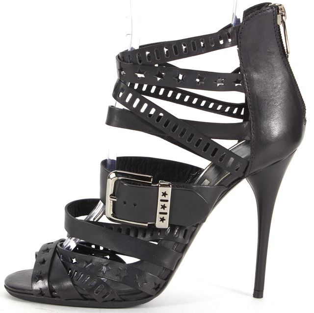 BALMAIN Black Star Laser Cut Leather Sandal Heels