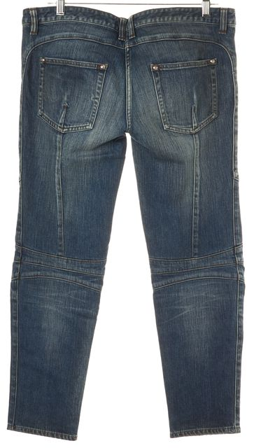 BALMAIN Blue 4 Pocket Distressed Straight Leg Jeans
