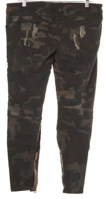 BALMAIN Green Camouflage Print Jeans