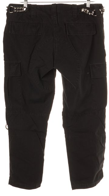 BALMAIN Black 5 Pocket Zipped Studded Belt Capris, Cropped Pants