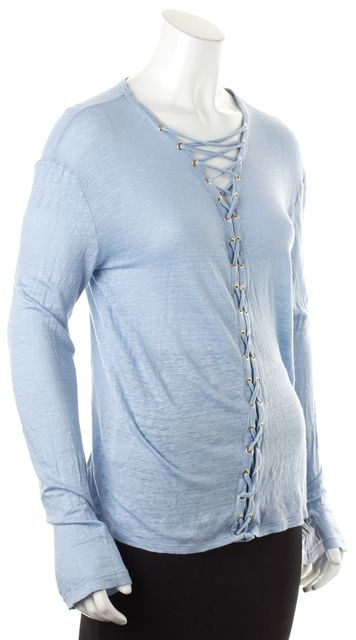 BALMAIN Pale Pastel Blue Linen Lace-Up Front Long Sleeve Knit Top