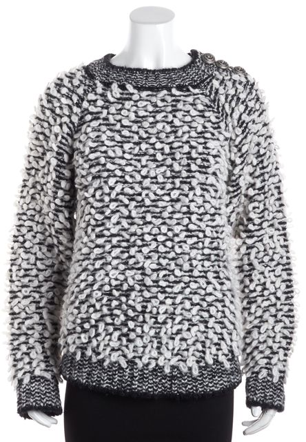 BALMAIN White and Black Marled Boucle Sweater