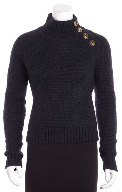 BALMAIN Navy Blue Wool Three Brooch Detailed Turtleneck Sweater