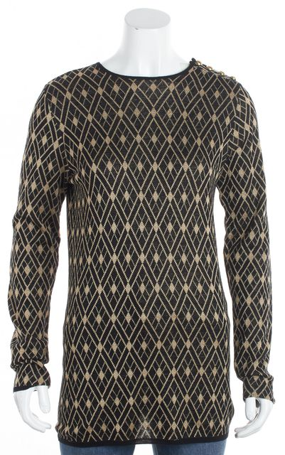 BALMAIN Black Gold Glitter Geometric Crewneck Sweater
