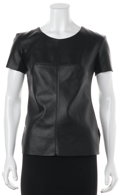 BAILEY 44 Black Faux Leather Paneled T-Shirt
