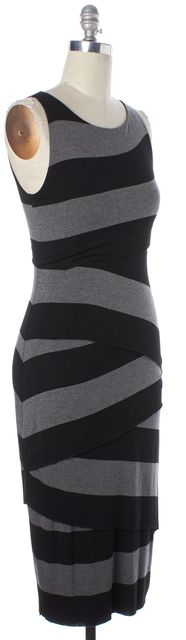 BAILEY 44 Black Gray Striped Stretch Jersey Layered Midi Sheath Dress