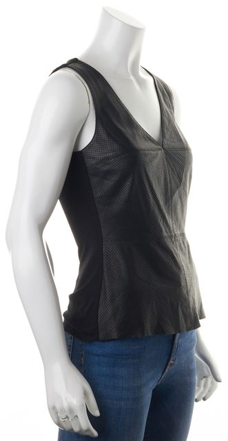 BAILEY 44 Black Perforated Leather Sleeveless V-Neck Blouse Top