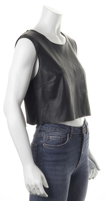 BAILEY 44 Black Faux Perforated Leather Sleeveless Cropped Blouse Top