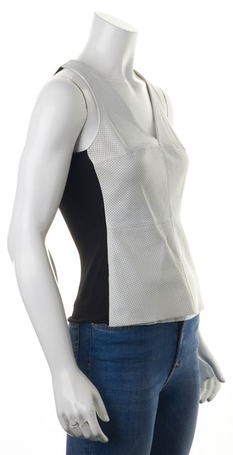 BAILEY 44 White Black Perforated Leather Sleeveless Blouse Top