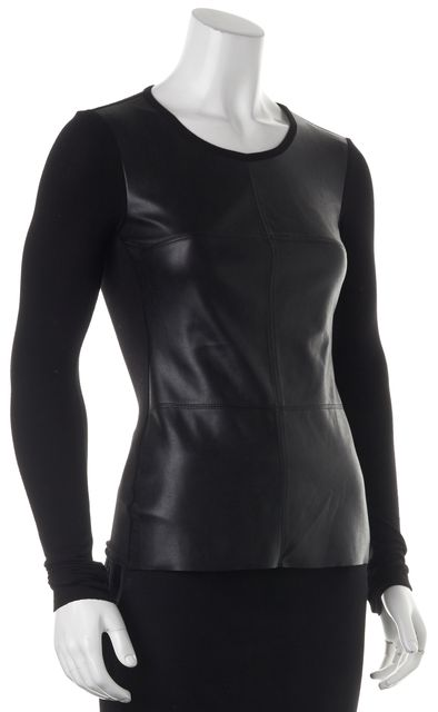 BAILEY 44 Black Faux Leather Front Long Sleeve Blouse Top