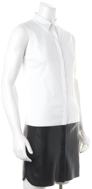 BAILEY 44 White Black Leather Colorblock Shirt Dress