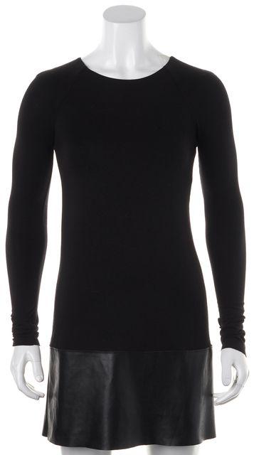 BAILEY 44 Black Faux Leather Trim Long Sleeve Stretch Dress