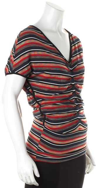 BAILEY 44 Multi-Color Striped Ruched Jersey V-Neck Tee T-Shirt Top