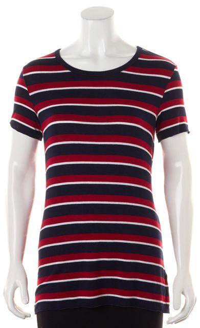 BAILEY 44 Navy Blue Red White Striped Short Sleeve Basic T-Shirt