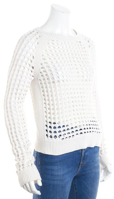 BAILEY 44 Ivory Sheer Perforated Crewneck Sweater