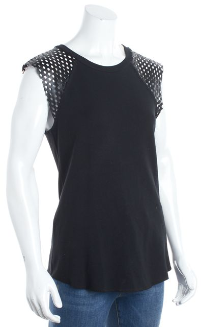 BAILEY 44 Black Leather Open Knit Tank Top